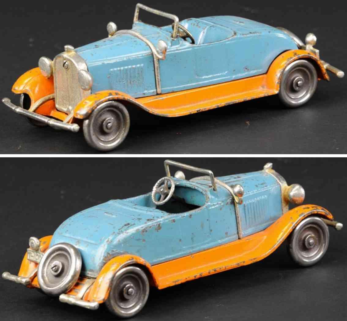 kilgore spielzeug gusseisen auto stutz roadster blau orange
