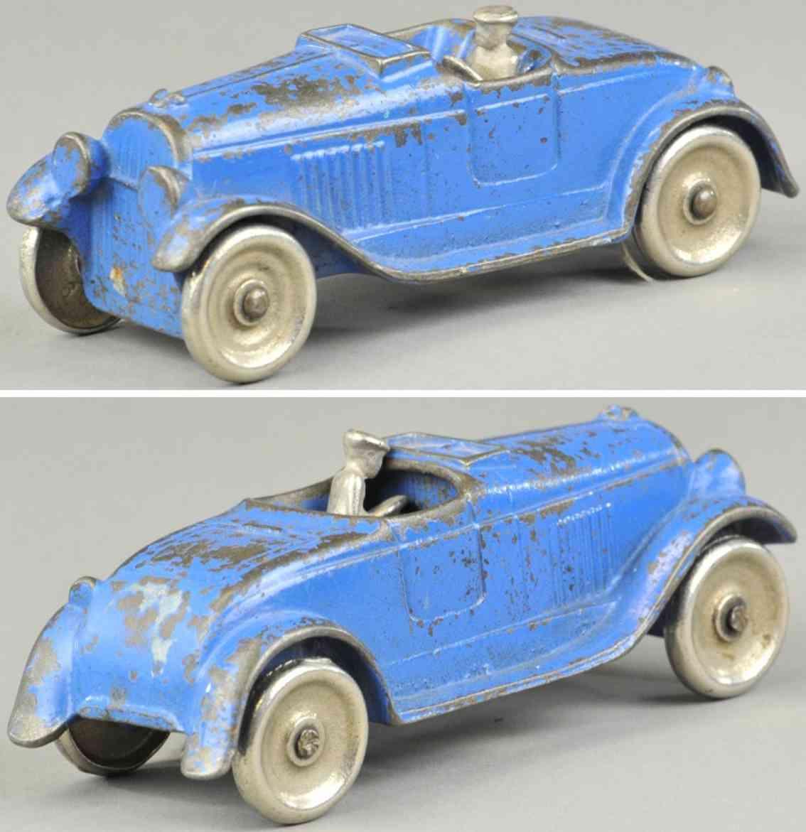 kilgore spielzeug gusseisen auto offener roadster blau