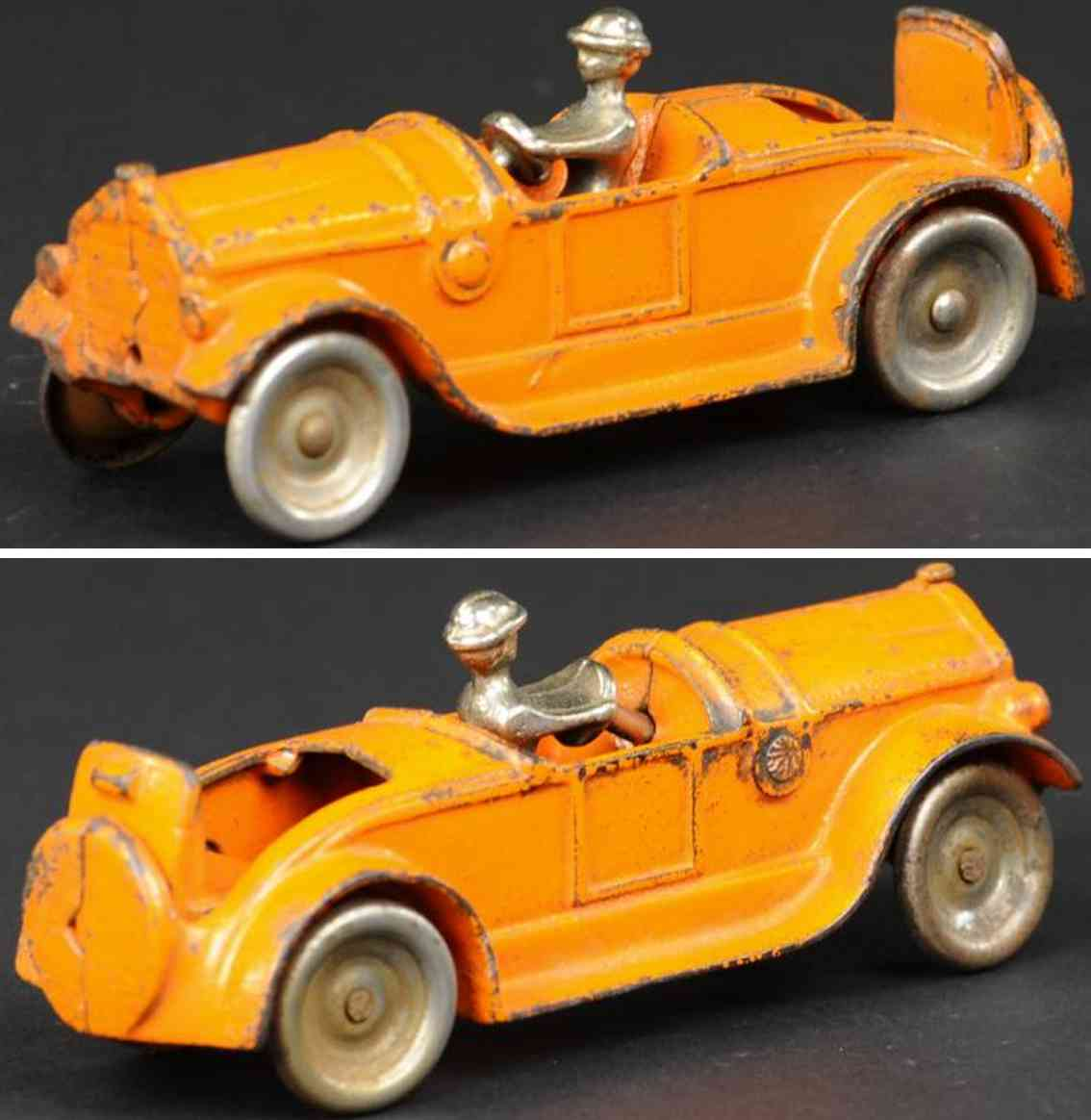 kilgore spielzeug gusseisen auto roadster offener notsitz orange