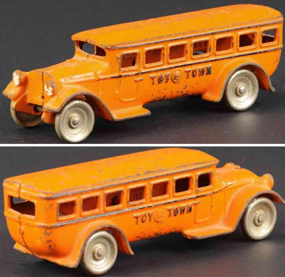 kilgore spielzeug gusseisen bus orange toy town