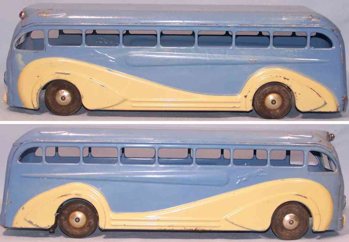 kingsbury toys 228 blech spielzeug greyhound bus blau uhrwerk