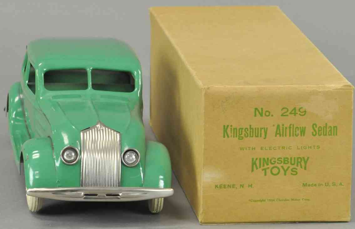 kingsbury toys 249 tin toy car airflow sedan green