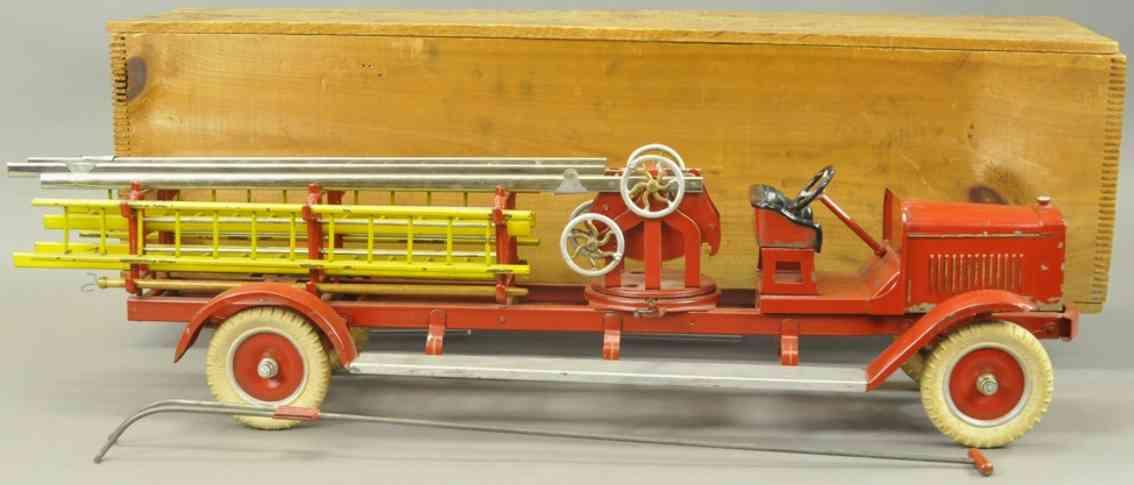 kingsbury toys 259 blech spielzeug feuerwehrleiterwagen rot gelb vernickelt