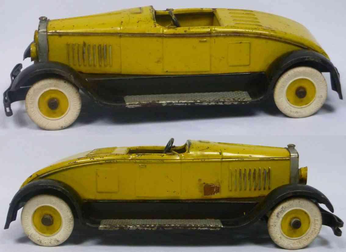 kingsbury toys 342 stahlblech spielzeug auto roadster gelb schwarz
