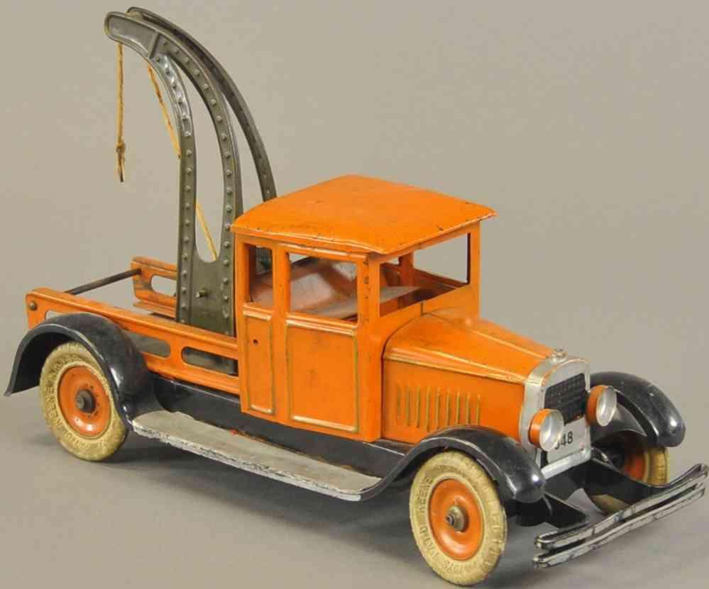 kingsbury toys 348 stahlblech spielzeug abschleppwagen oragne