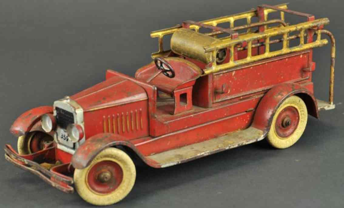 kingsbury toys 359 stahlblech feuerwehrleiterwagen rot