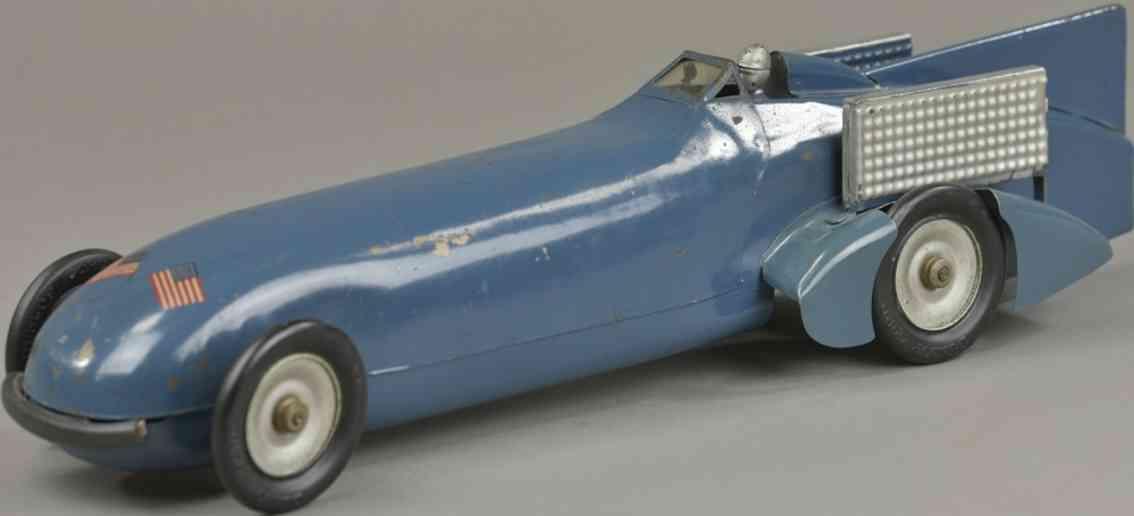 kingsbury toys  blech spielzeug rennauto rennwagen campbell bluebird uhrwerk