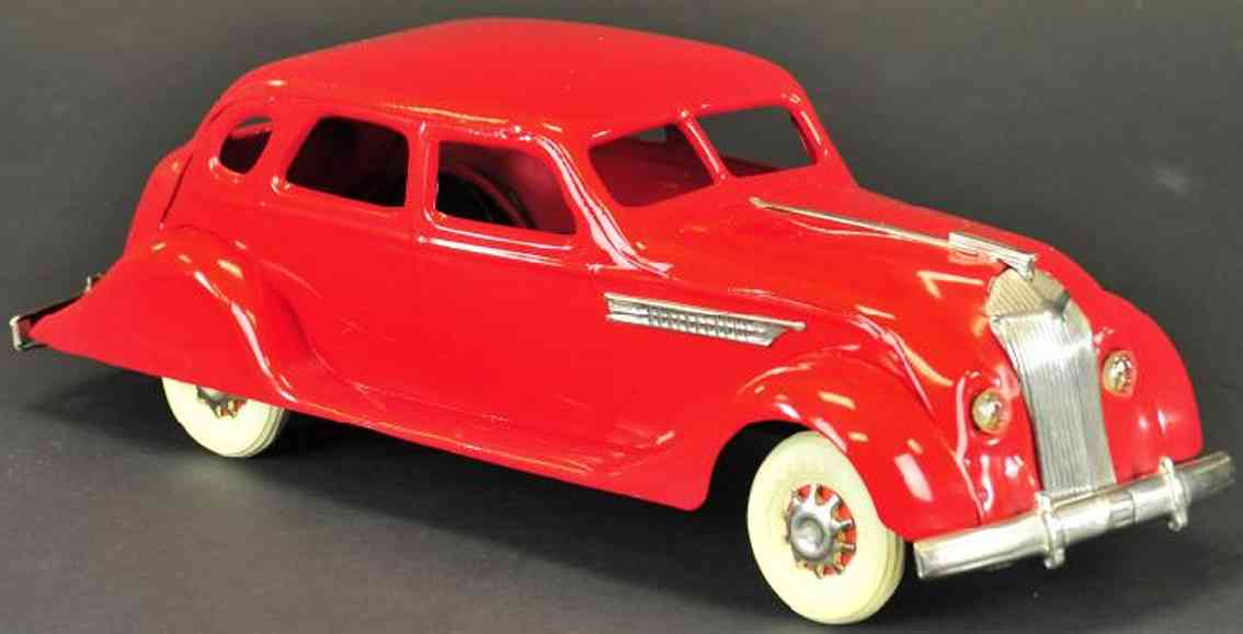 kingsbury toys pressed steel car chrysler airflow sedan wind-up red
