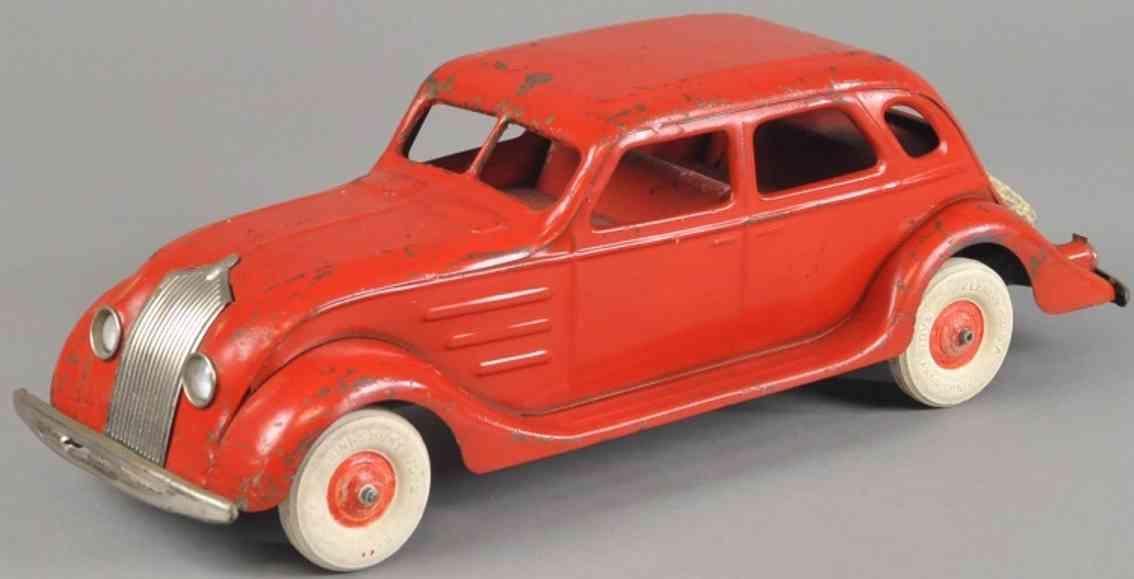 kingsbury toys spielzeug auto windschnittiger chrysler stahlblech rot