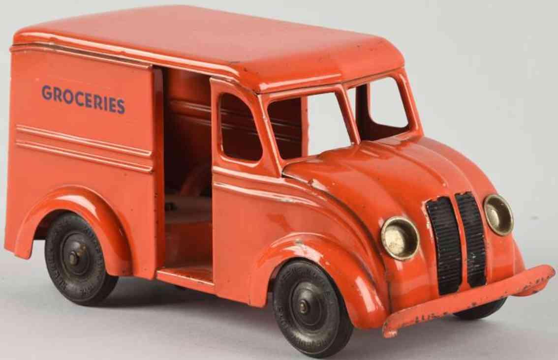 kingsbury toys blech spielzeug lieferwagen lebensmittel groceries rot orange