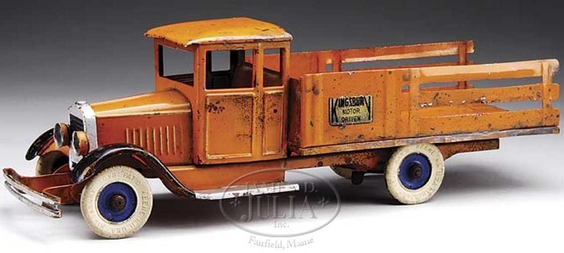 kingsbury toys blech spielzeug lastwagen uhrwerk orange