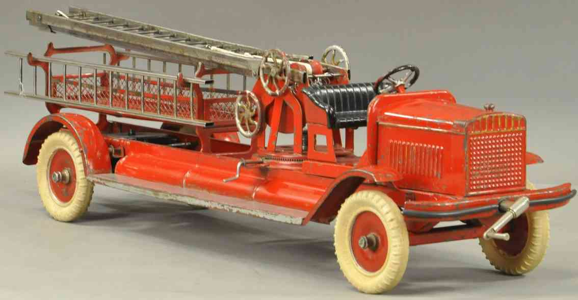 kingsbury toys tin toy fire ladder truck little jim