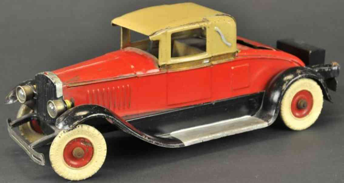 Kingsbury toys Oldtimer Musical coupe in red and tan