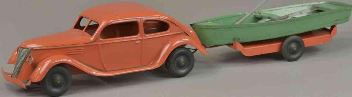 kingsbury toys stahlblech spielzeug auto anhaenger ruderboot rot gruen