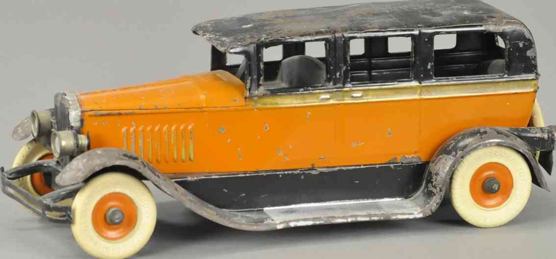 kingsbury toys  blech spielzeug auto taxi mit lampen orange schwarz