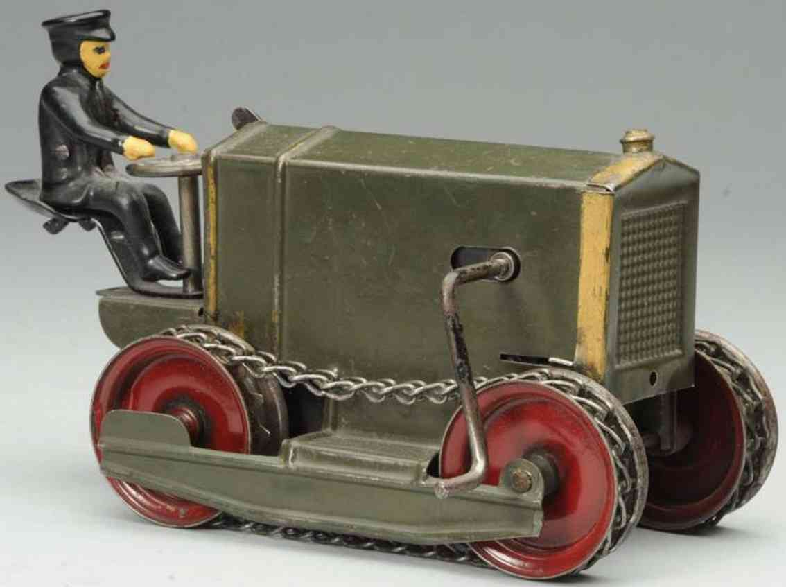 kingsbury toys pressed steel wind-up tractor cast rion driver