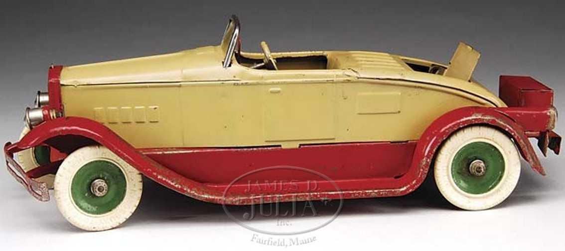 Kingsbury toys Oldtimer Roadster mit Uhrwerk in braun und rot