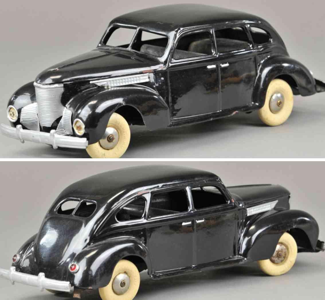 kingsbury toys pressed steel, toy car airflow sedan black