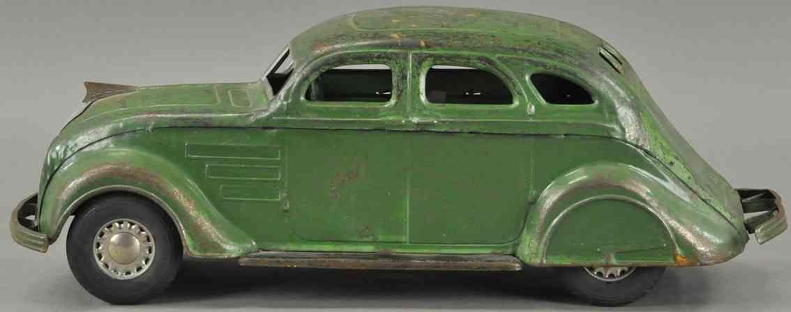 kingsbury toys stahlblech spielzeug windschnittiges auto uhrwerk gruen