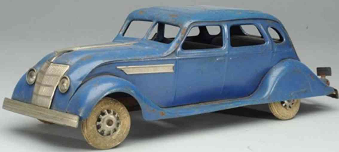 kingsbury toys tin toy car airflow sedan blue moon roof