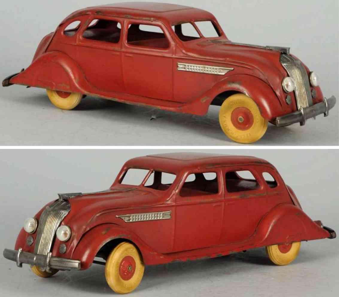 kingsbury toys airflow car red 14 pressed steel auto