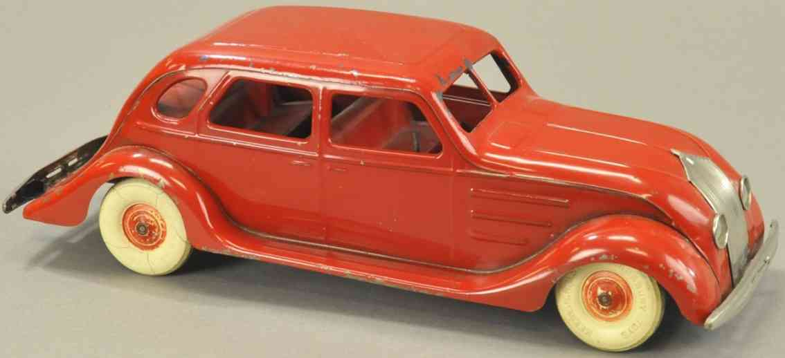 kingsbury toys stahlblech spielzeug windschnittiges auto uhrwerk rot