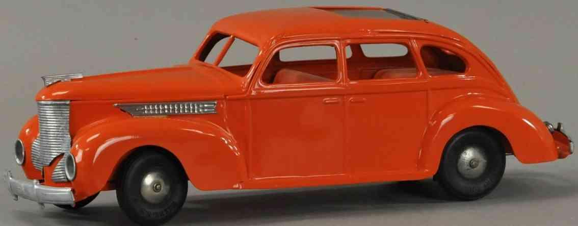 kingsbury toys blech spielzeug auto windschnittige limousine rot monddach