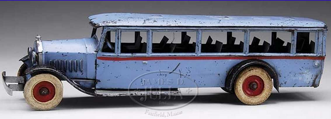 kingsbury toys 786 tin toy light blue bus clockwork