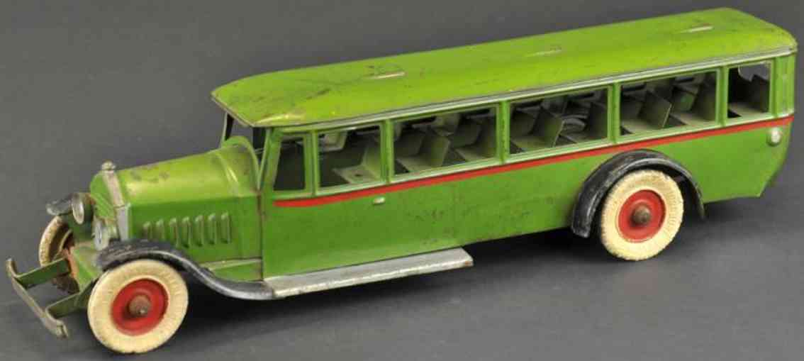 kingsbury toys pressed steel passenger bus green