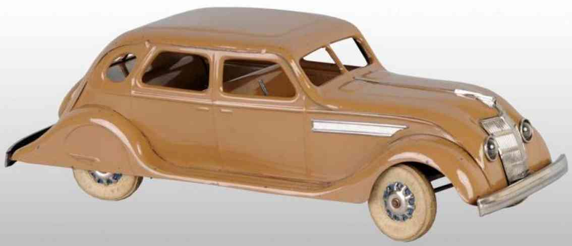 kingsbury toys stahlblech braun auto windschnittiger chrysler