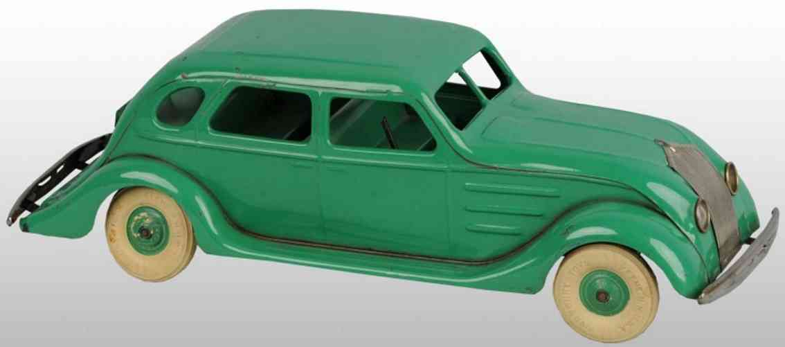 kingsbury toys pressed steel toy chrysler airflow car battery-operated green