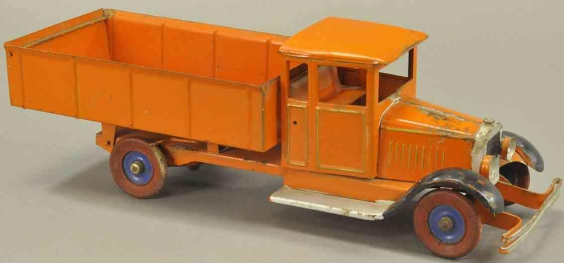 kingsbury toys stahlblech spielzeug  kipplastwagen orange