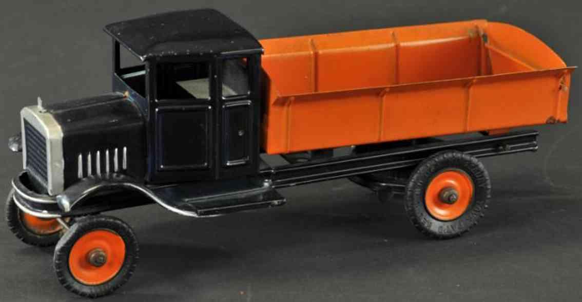 kingsbury toys pressed steel dump truck blue orange