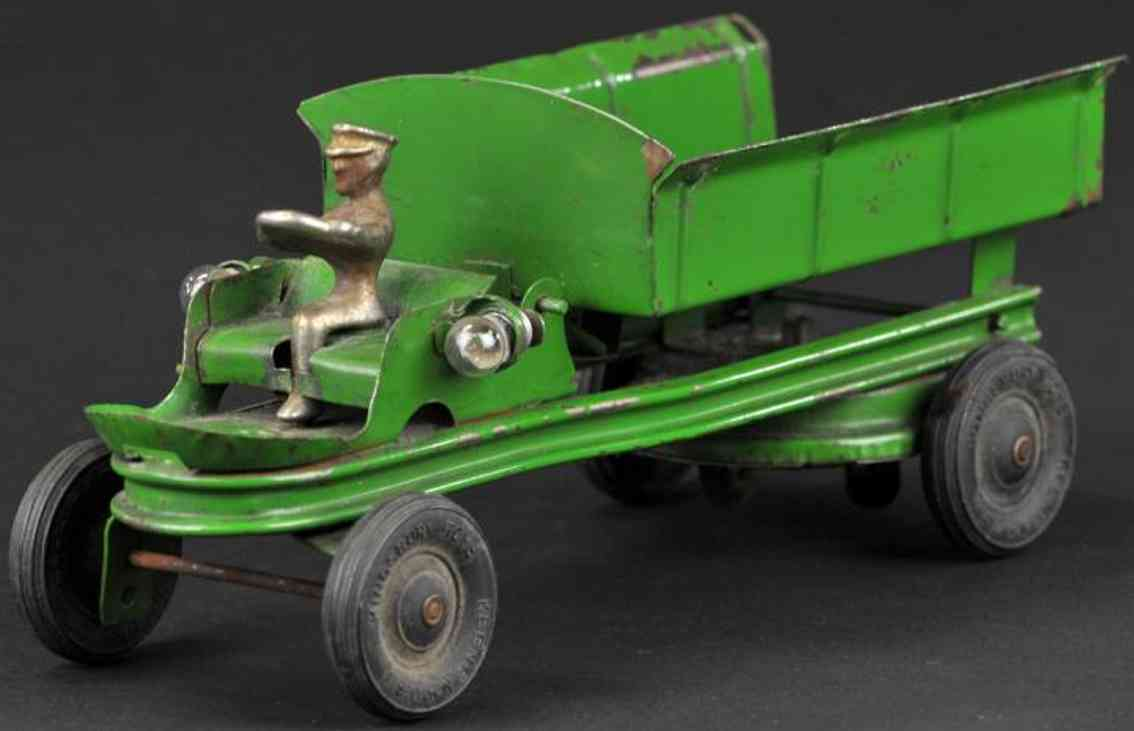kingsbury toys pressed steel toy contractors dump truck green driver
