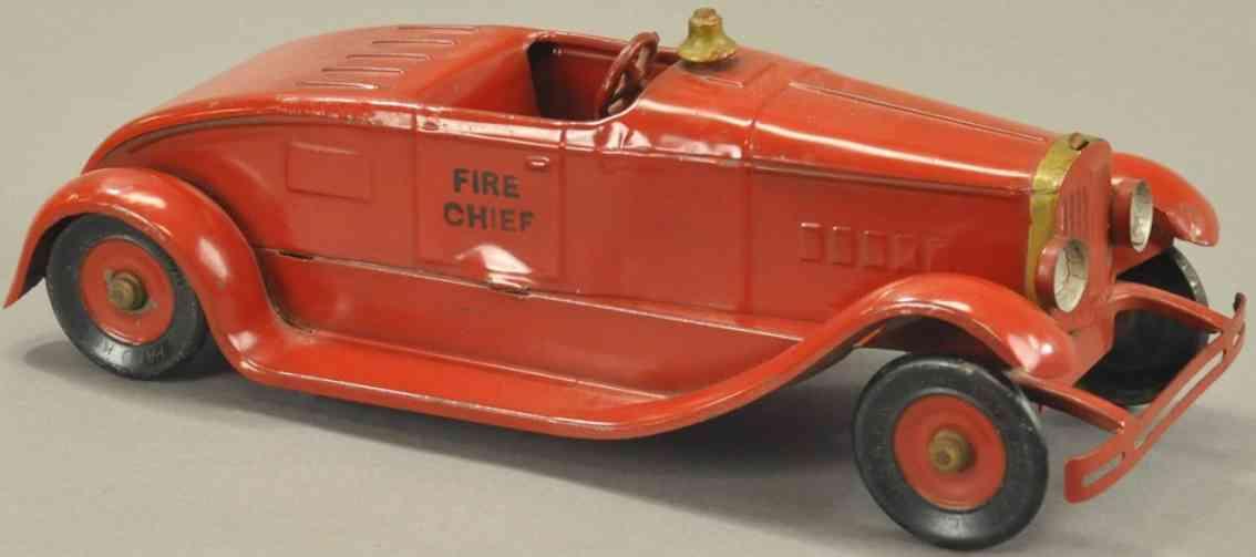 kingsbury toys fire chief stahlblech spielzeug feuerwehrwagen des chefs rot