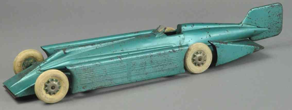 kingsbury toys blech spielzeug rennauto rennwagen goldpfeil stahlblech gruen