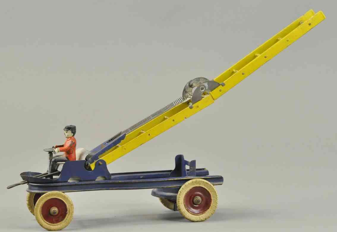 kingsbury toys blech spielzeug feuerwehrleiterwagen fahrer blau rot gelb