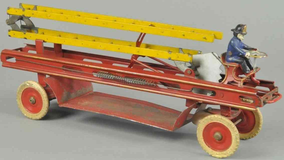 kingsbury toys spielzeug feuerwehrleiterwagen stahlblech rot