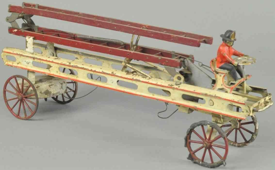 kingsbury toys spielzeug feuerwehrleiterwagen stahlblech weiss rot