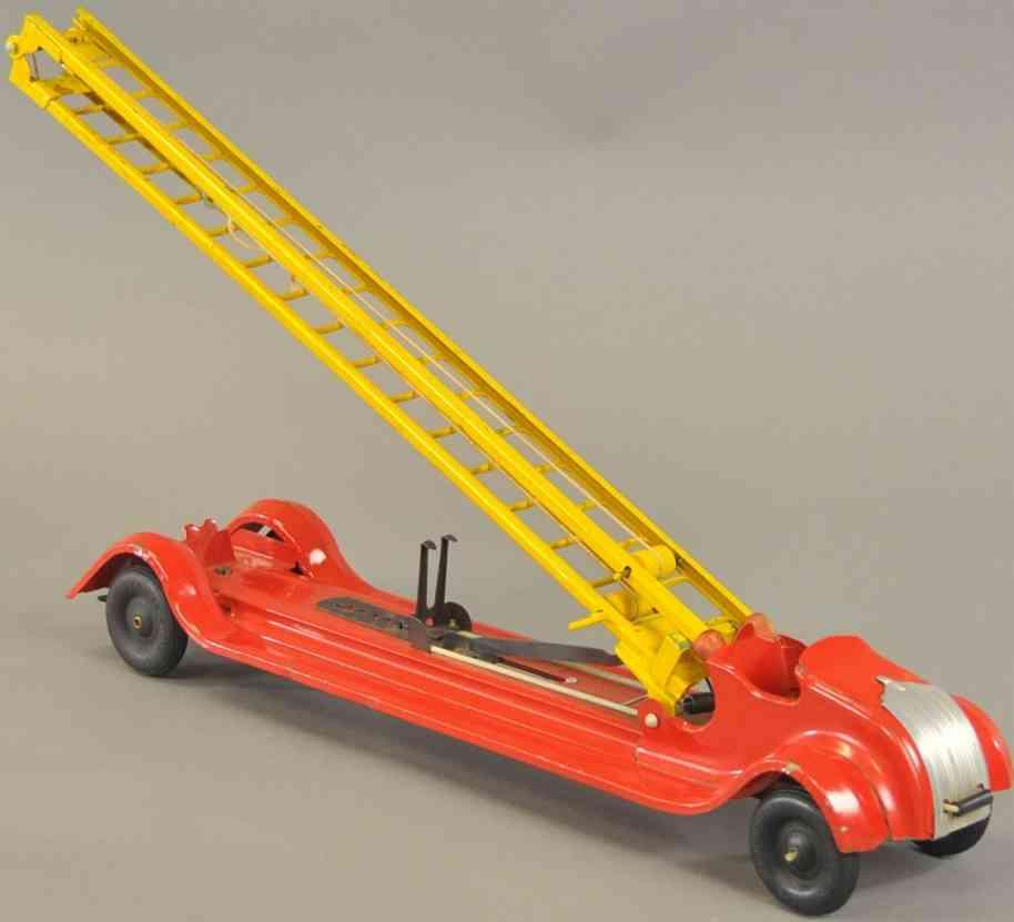 kingsbury toys stahlblech spielzeug feuerwehrleiterwagen
