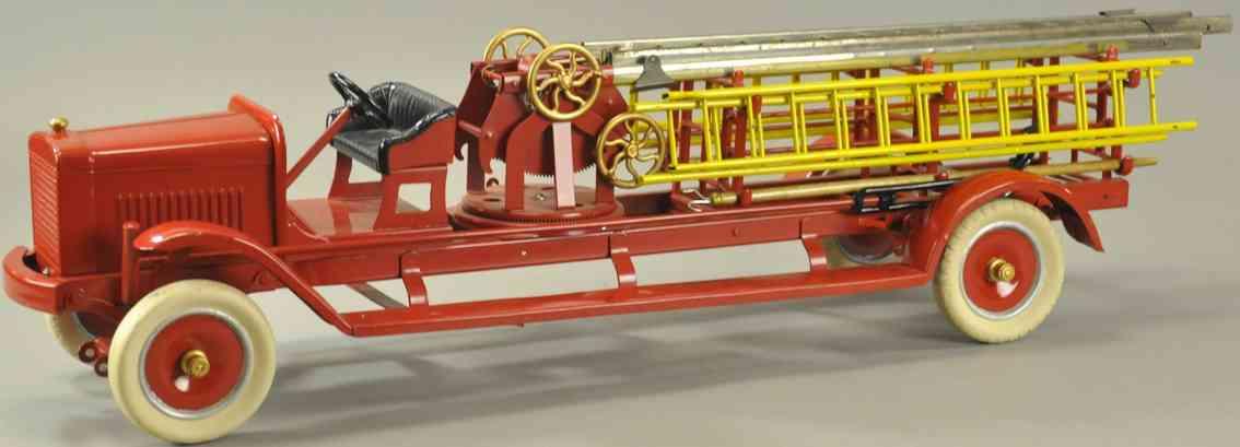 kingsbury toys stahlblech spielzeug feuerwehrleiterwagen drehtisch