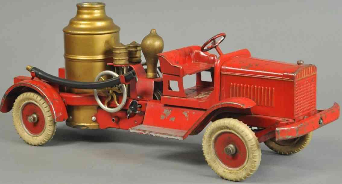 kingsbury toys spielzeug feuerwehrkesselwagen motor stahlblech