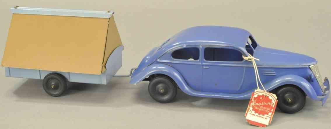 kingsbury toysstahlblech spielzeug auto mit zeltanhaenger blau braun