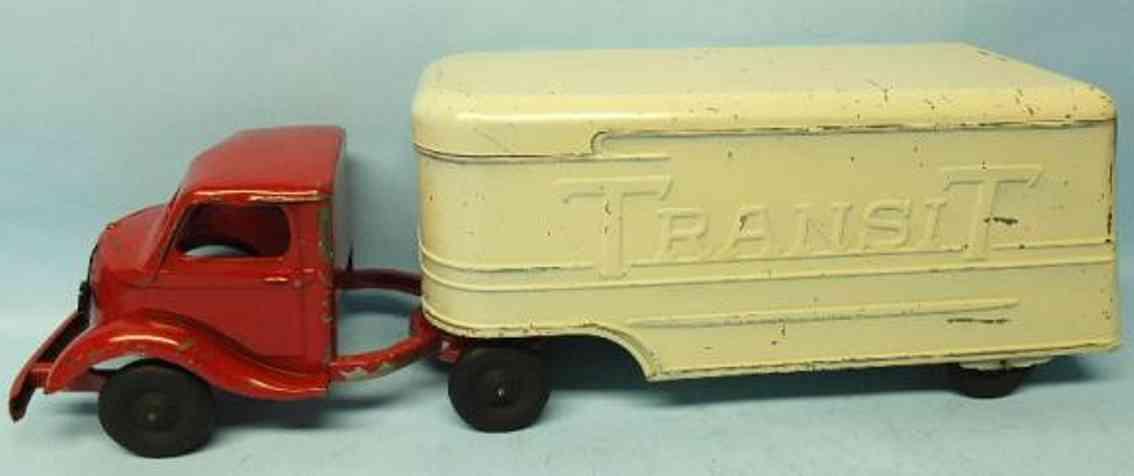 Kingsbury toys Lastwagen mit Anhäger aus gepreßtem Stahl