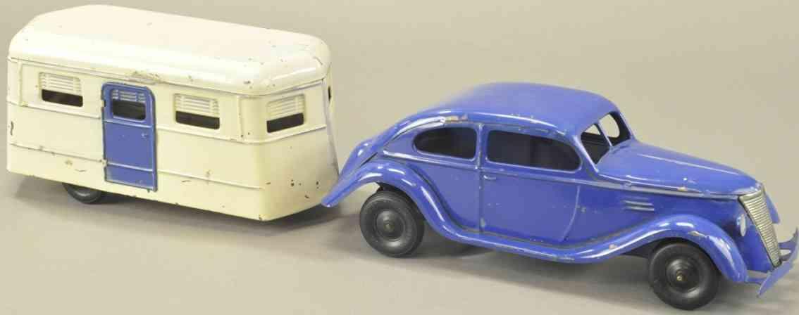 kingsbury toys stahlblech spielzeug auto mit wohnwagen blau uhrwerk