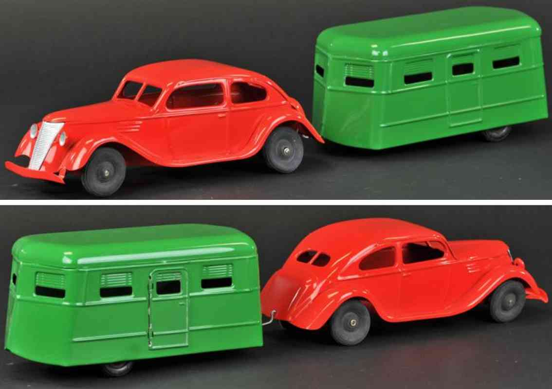 kingsbury toys stahlblech auto coupe rot wohnwagen gruen