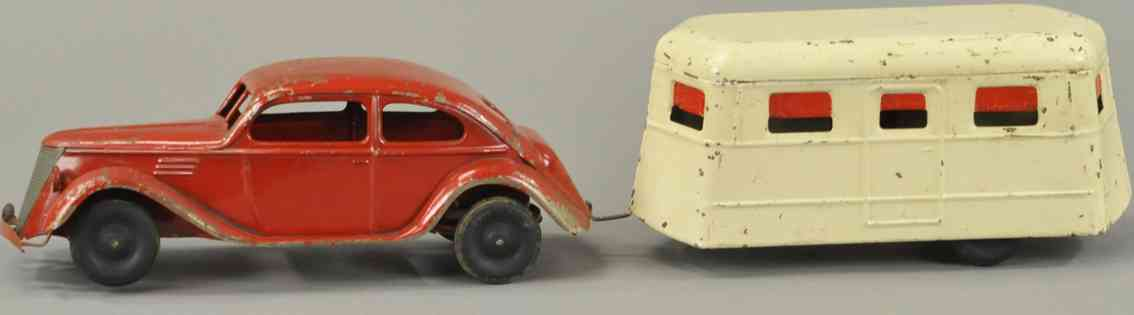 kingsbury toys Tpressed steel toy car coupe travel musical trailer red white