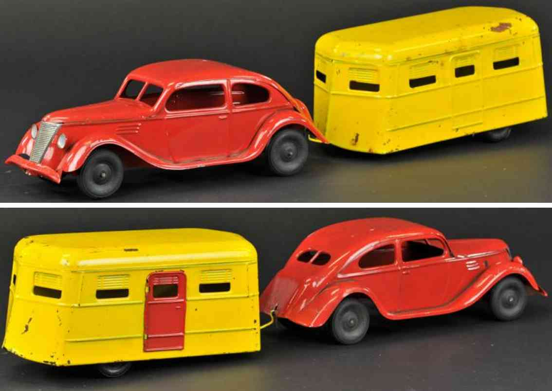kingsbury toys stahlblech spielzeug auto rot wohnwagen gelb