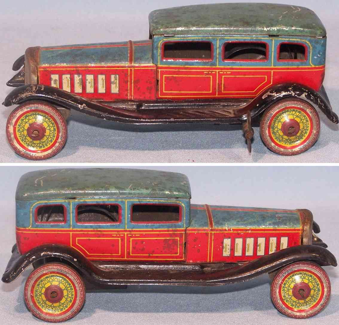 kohno kakuzo tin toy car limousine clockwork blue