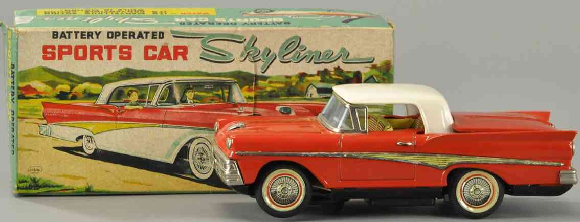 kosuge toy co tin toy car ford sports car skyliner red